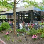 people eating on the outdoor patio of a restaurant