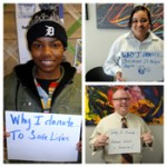 blood drive collage of people holding signs that say why I donate
