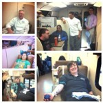 blood drive collage of people giving blood