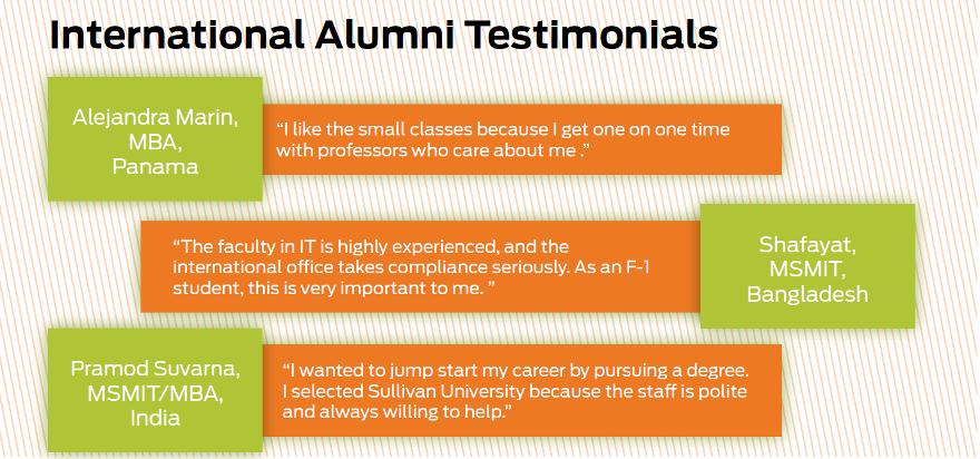 International student testimonials