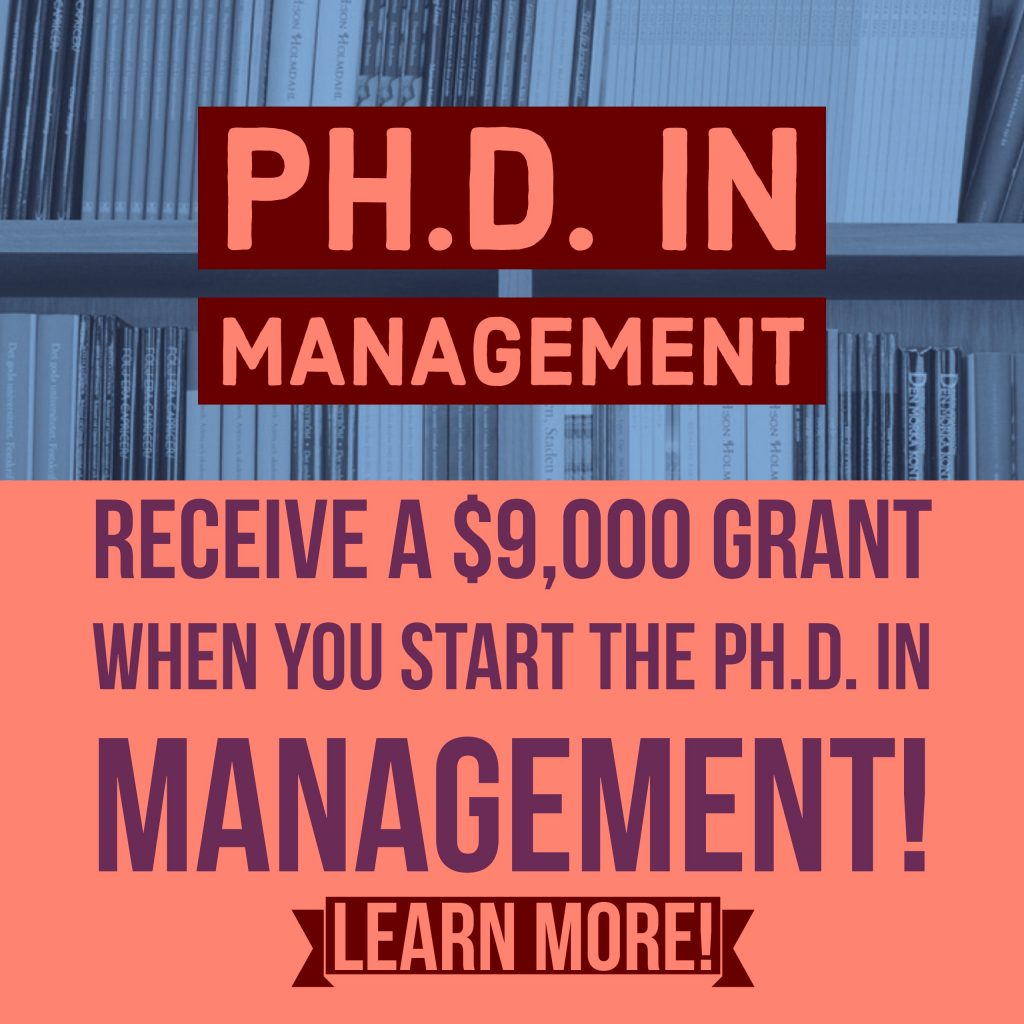 PH.D. in management receive a grant when you start poster image