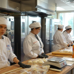 Students at baking camp working on pastries.